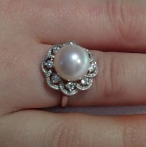 Jewelry - Sterling Silver, Pearl, and Crystal Ring